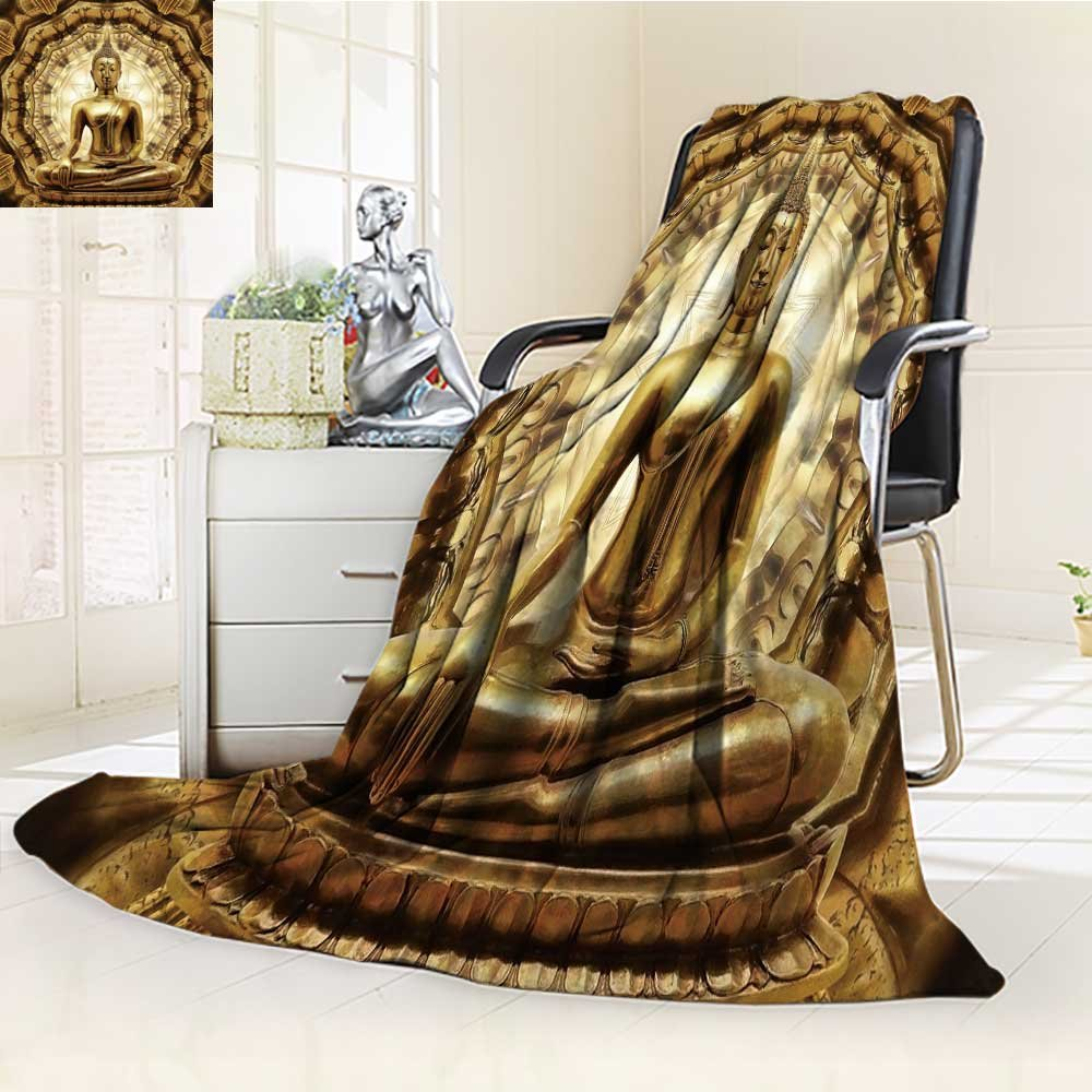 Microfiber Fleece Comfy All Season Super Soft Cozy Blanket thai golden buddha on oriental gold ornament texture background for Bed Couch and Gift Blankets(90''x 70'')