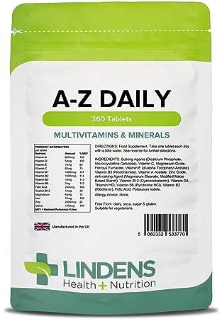 Lindens Multivitaminas A-Z en comprimidos diarios | 360 ...