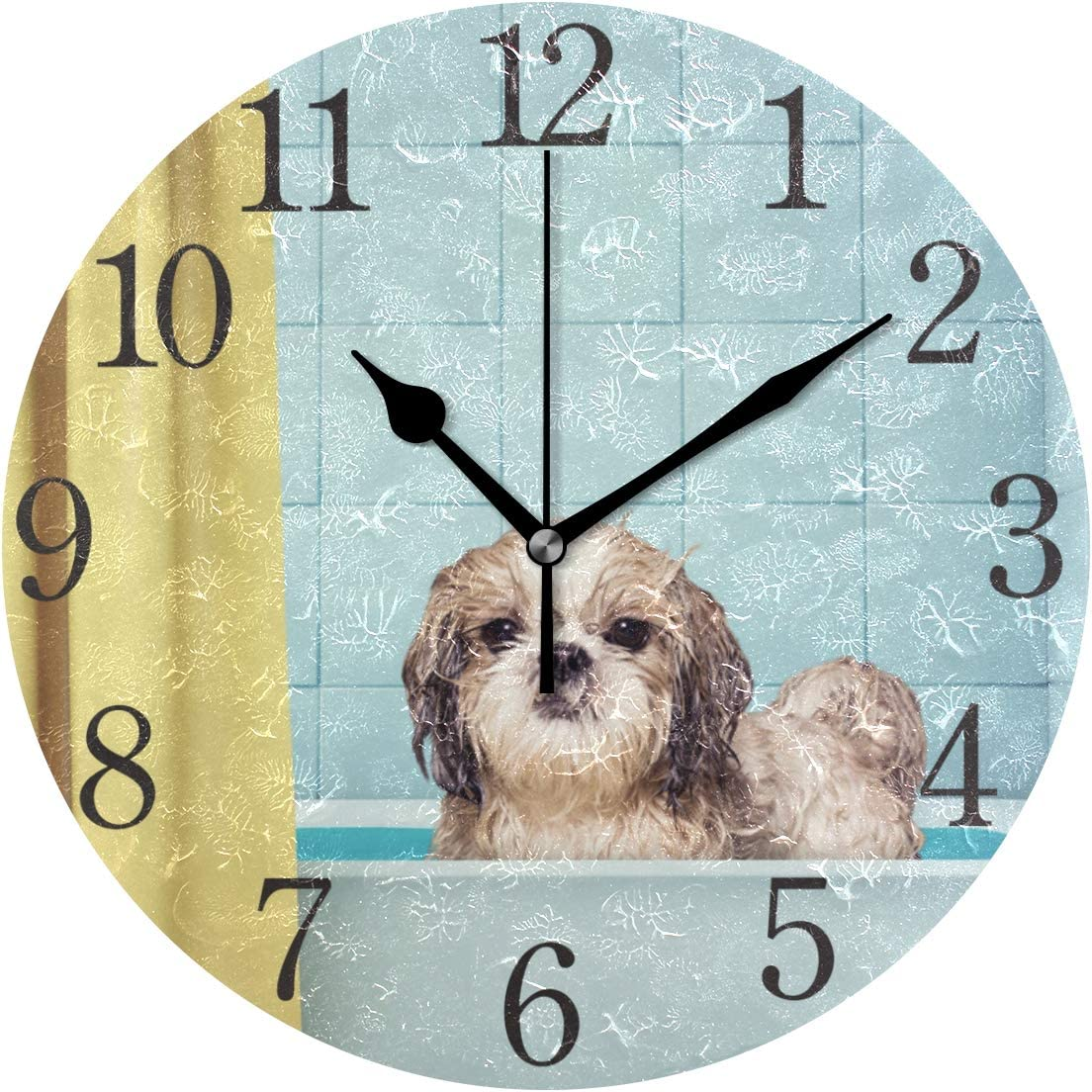 Wall Clock Arabic Numerals Design Cute Wet Shitzu Dog Round Wall Clock for Living Room Bathroom Home Decorative