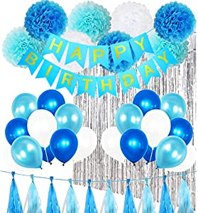 Birthday Party Decorations KitBoy Supplies with Banner, Balloons, Pom Poms Flowers, Foil Fringe Curtain, Paper Tassels in Blue