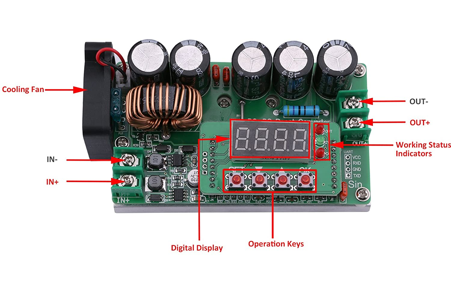Yeeco DC DC 10-60V to 13-97V Boost Voltage Regulator Power Converter 1500W 22A Volt Transformer Power Supply Module Board with Adjustable Potentiometer /& Heatsink Fan