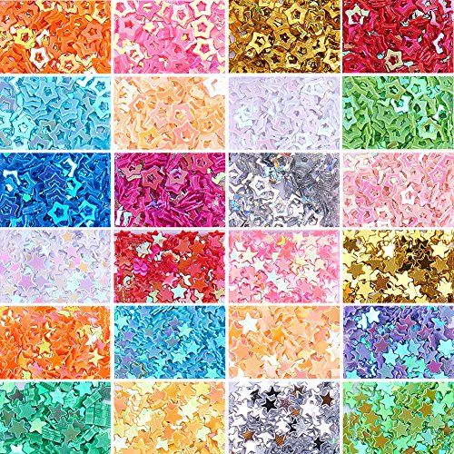 NBEADS 2 Boxes/Set of Assorted Colors Stars Confetti Glitter Star Sequins for Crafts DIY Nail Art and Party Decoration, 1.7~3.7x1.7~3.7x0.2mm