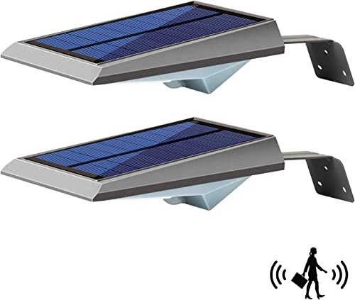 Solar Lights Outdoor Solar Security Light with Motion Sensor-18LED 300LM Dim To Bright Waterproof with Mounting Pole Wireless Detector Led Wall Lights for Fence Patio Garage Porch Front Door 2 Packs