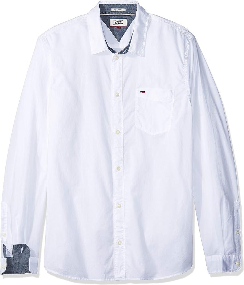 Tommy Jeans DM0DM04481 TJM Essential Solid Camisa Hombre White XL: Amazon.es: Ropa y accesorios