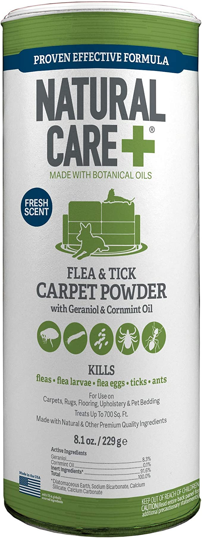 Natural Care Flea And Tick Carpet Powder Flea Treatment For Rugs Carpet Or Pet Bedding 8 1 Ounce Canister