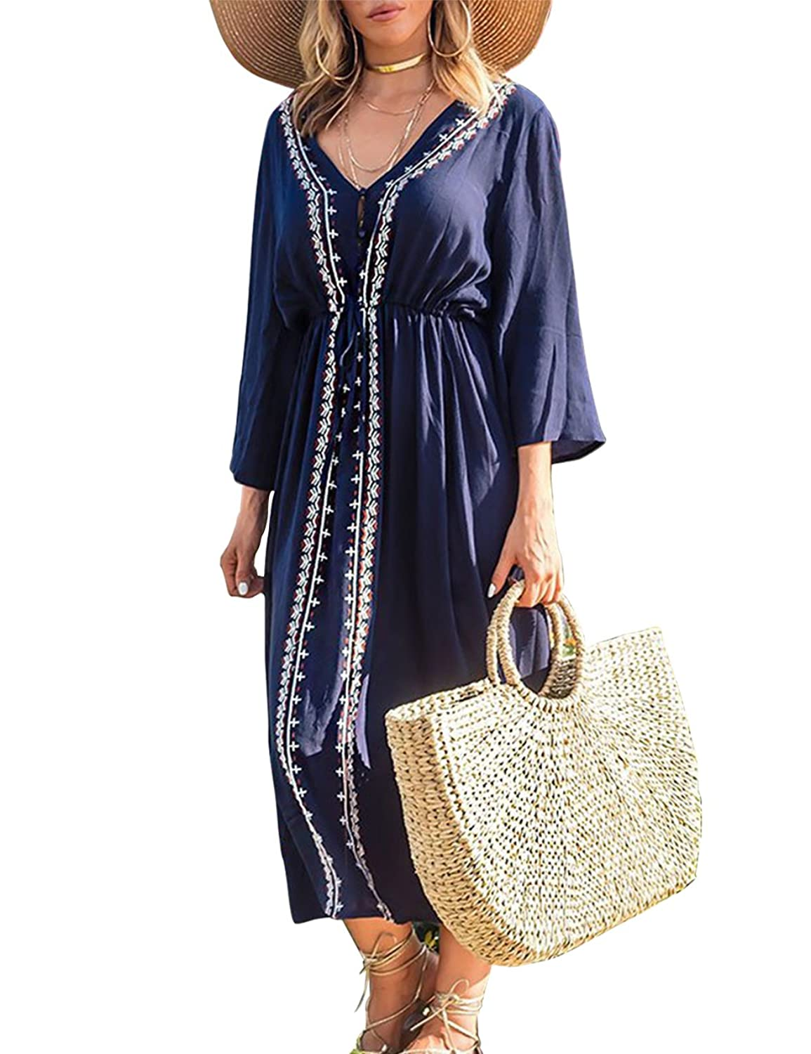 7bbdda5aeec4 Embroidered Floral Maxi Cover Up Dress Long Beach Dress is featuring 3/4  sleeve, v neck, with embroidery, with drawstring, the waist is adjustable.