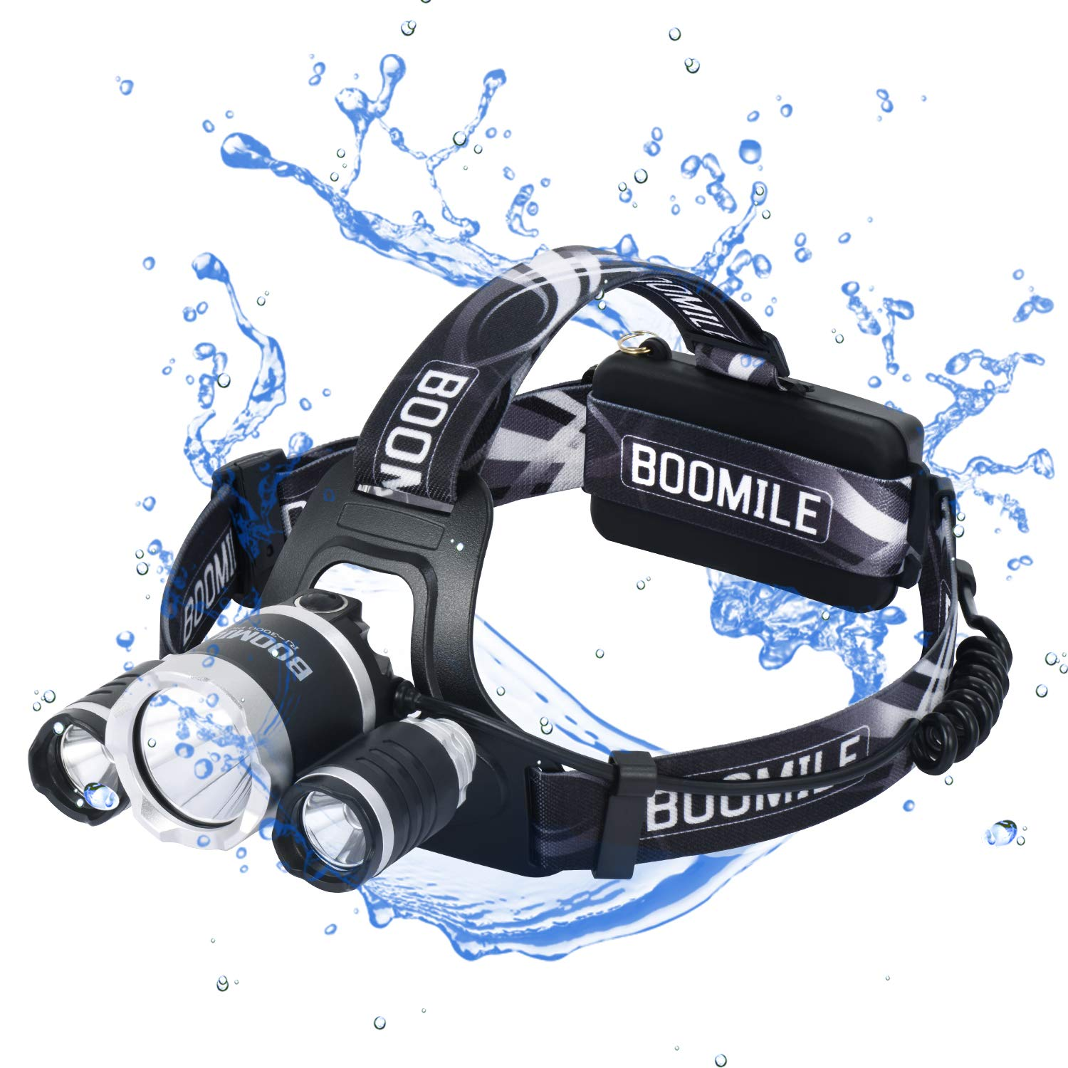 Boomile Headlamp, LED Headlight, Camping, Outdoor Hiking and Walking Black