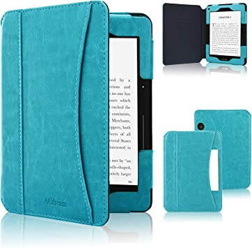 Blue Kindle Voyage Case Genuine Leather Perfect Fit Origami Standing Cover with Auto Wake//Sleep for  Kindle Voyage