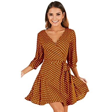 Womens Wave Point Printing Half Sleeve Casual Mini Dress Fashion Sexy Dress