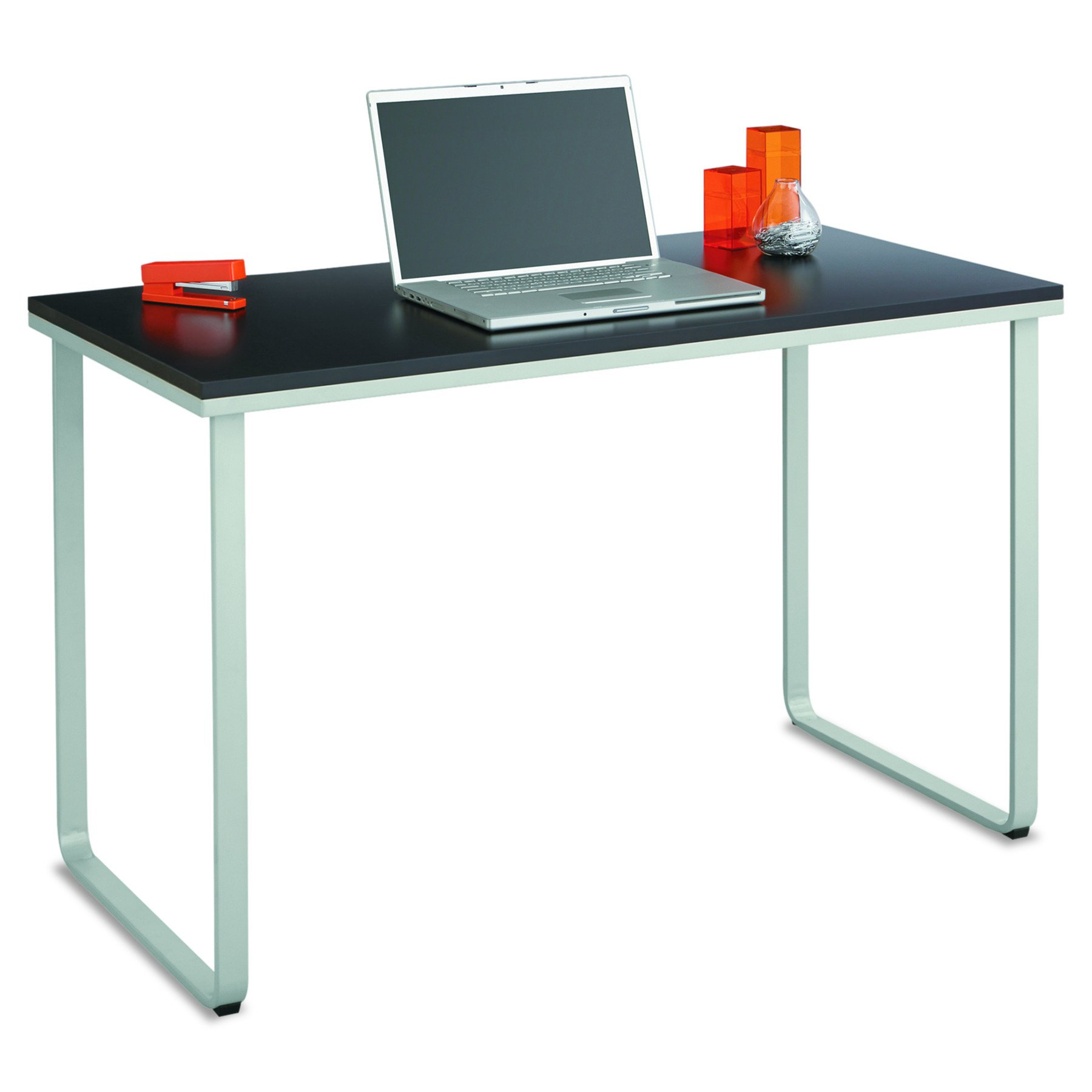 Safco Products 1943BLSL Simple Design Table Desk with Sled Base, Black/Silver