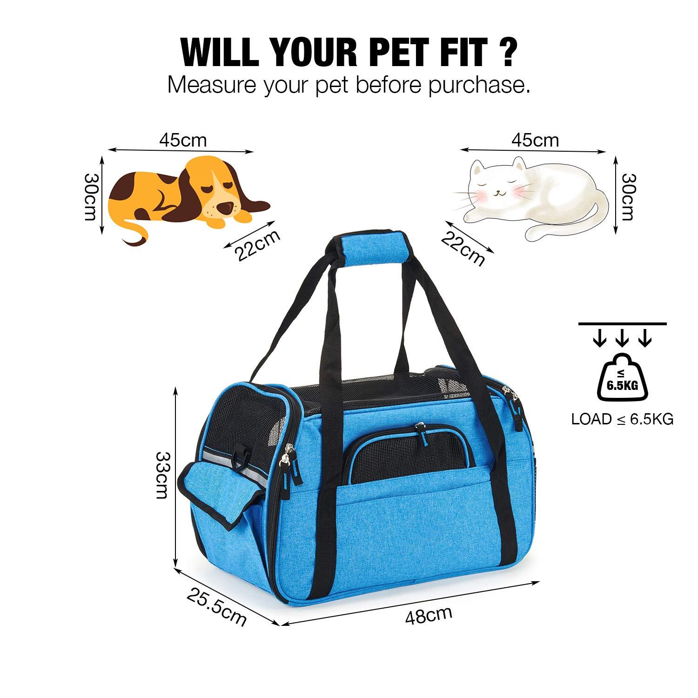 Kaka mall Transportín Perro Gato Transpirable Plegable Pet Carrier Impermeable Bolso de Hombro Acolchado Suave Viaje Avion Tren o Auto por Pequeños Mascota ...