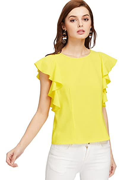 MakeMeChic Women s Solid Ruffle Sleeve Summer Tops and Blouses Yellow XS a9900b930
