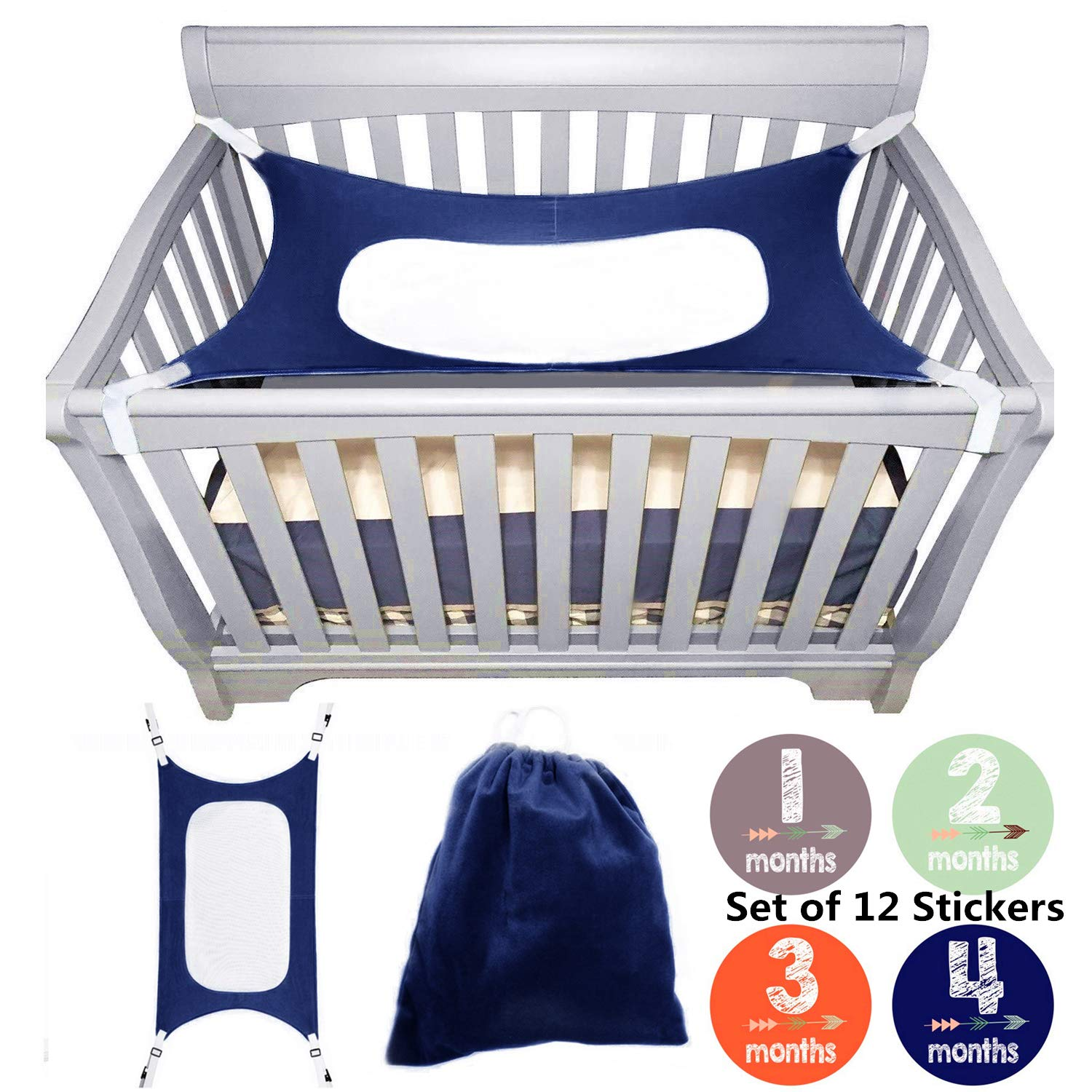bopopo Baby Hammock for Crib - Mimics Mother's Womb - Infant Hammock 3-Layer Breathable Supportive Mesh Metal Buckle Blue