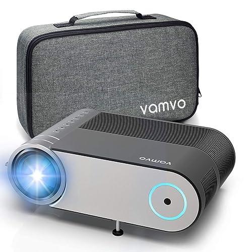 Projecteur Vamvo Videoprojecteur Portable 4000 Lumens Retroprojecteur Supporte Full HD 1080P Mini Projecteur avec 50 000 Heures Vidéoprojecteur Compatibles avec HDMI VGA AV USB