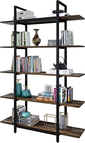 ELEGANT 5-Tier Bookshelf Vintage Industrial Style Bookshelf
