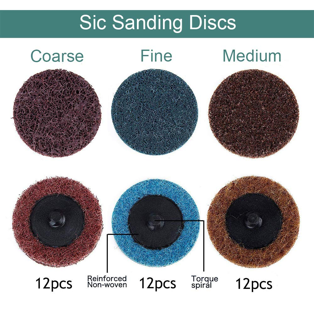 Coceca 2 inch Roloc Quick Change Discs 36Pcs Sanding Discs Surface Conditioning Discs