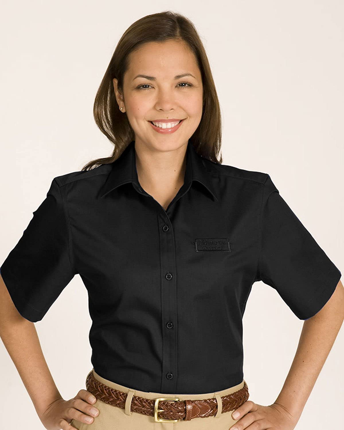 Edwards Garment Women's Cotton Plus Twill Short Sleeve Shirt, Black, X-Small