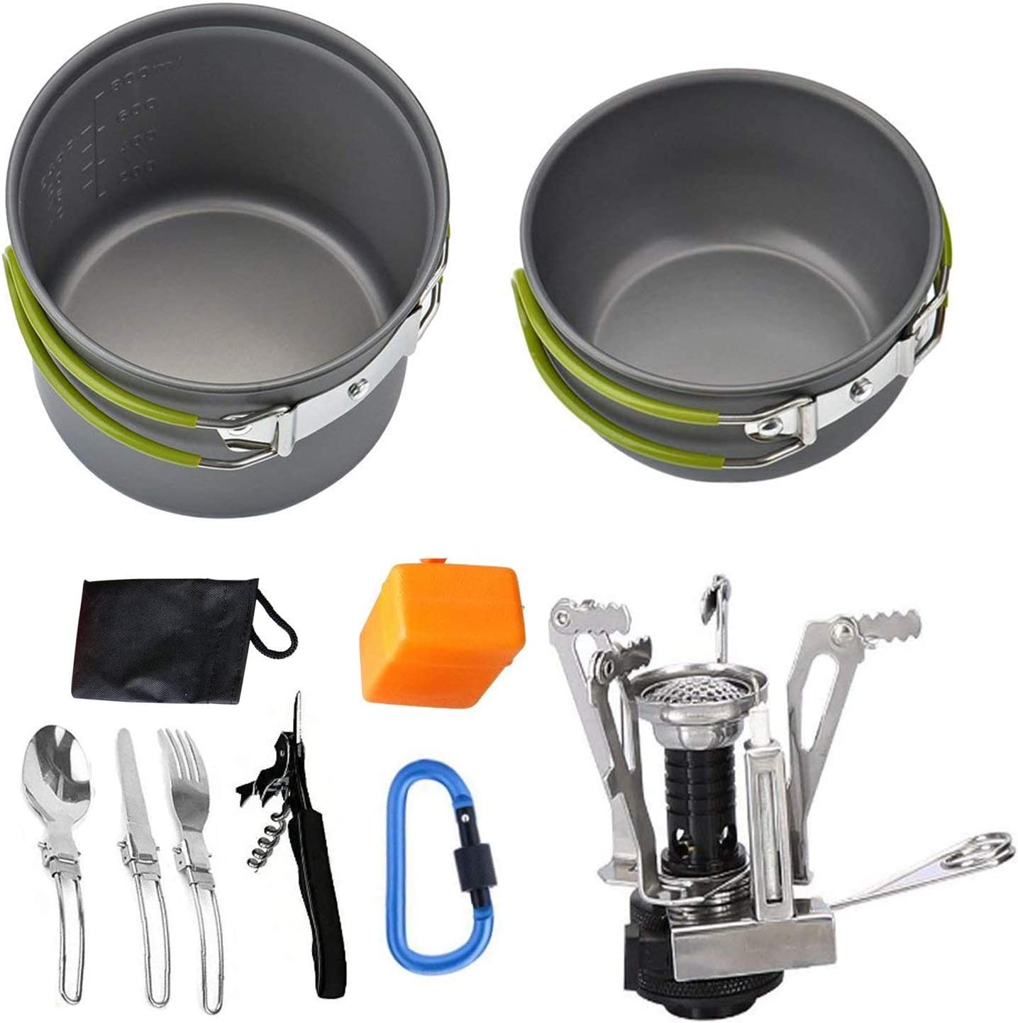 Camping Cookware Mess Kit Backpacking Gear Hiking Outdoors Cooking Equipment
