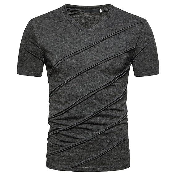 Camisetas Manga Corta Hombre,Venmo Hombres Casual Slim Sólido V-Cuello Manga Corta Camiseta