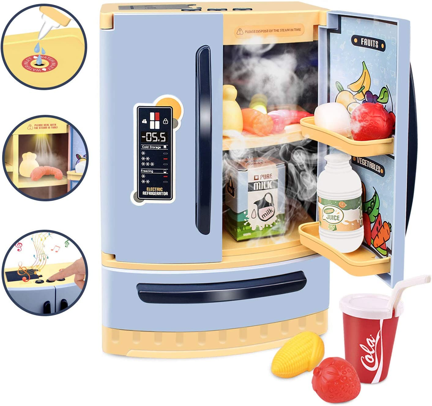 GrowthPic Kids Toy Kitchen Accessories, Pretend Play Kitchen Refrigerator Toy Set with Spraying Function, Water Toys for Kids, Toddlers, Boys and Girls