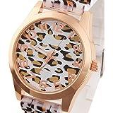 GSPStyle Damen Silikone Armbanduhr Quarzuhr Leopard Analog Damenuhren Uhren