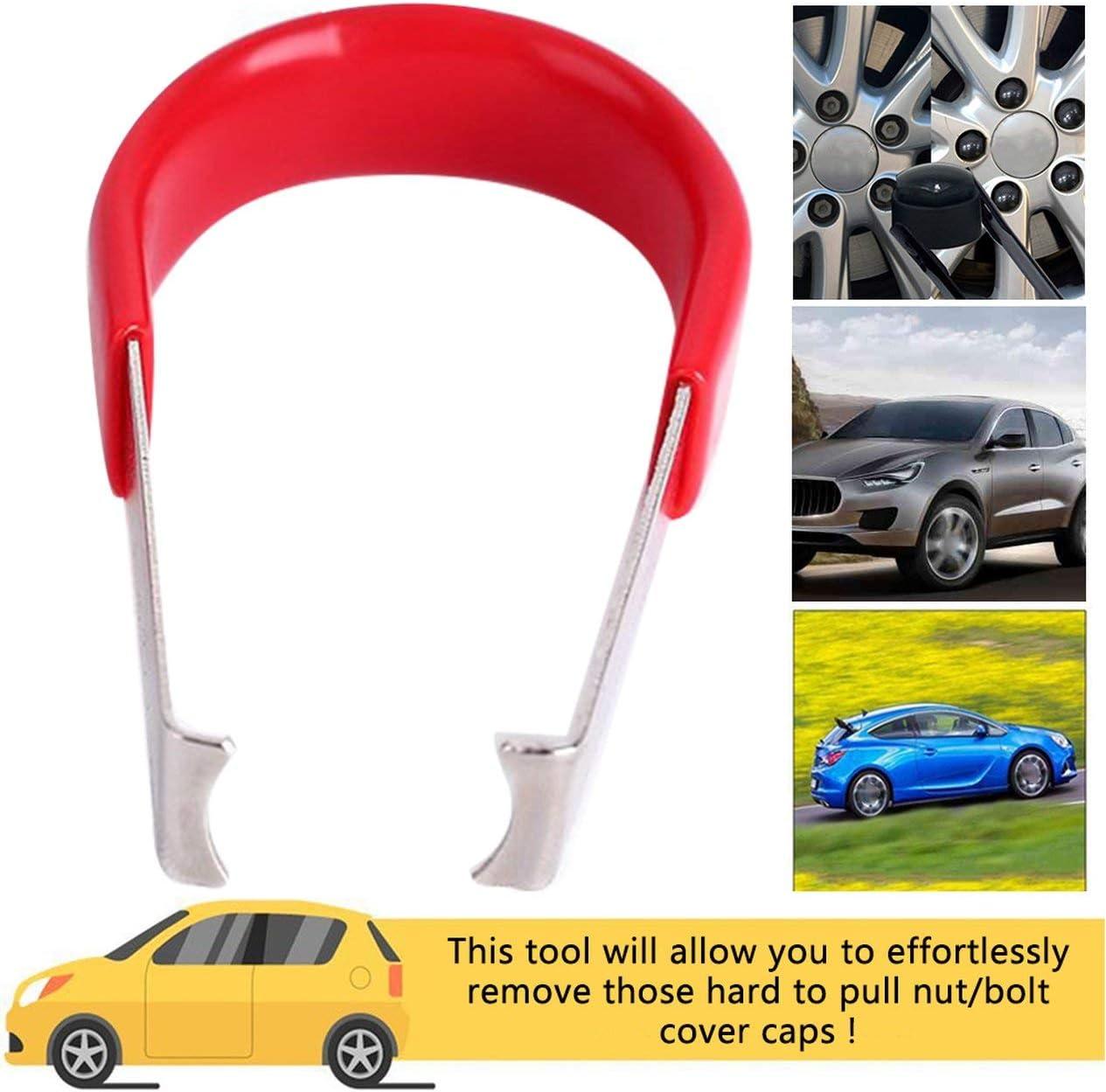 black BCVBFGCXVB Car Wheel Bolt Nut Caps Covers Puller Remover Tool Tweezers Puller Metal