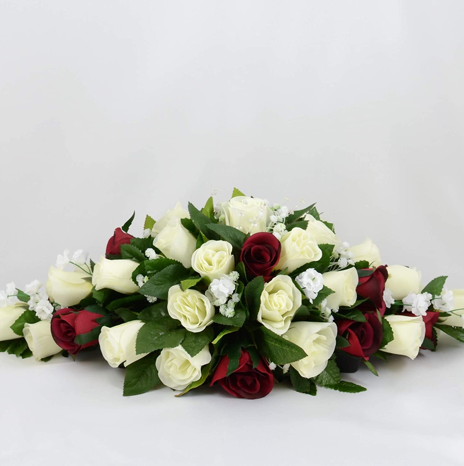 Artificial Wedding Flowers Hand-made by Petals Polly, TOP TABLE ARRANGEMENT, CREAM/IVORY/BURGUNDY PETALS POLLY FLOWERS