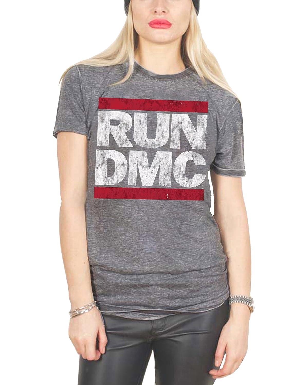 RUN DMC T Shirt Classic Band Logo Official Womens New Grey Skinny Fit Burnout