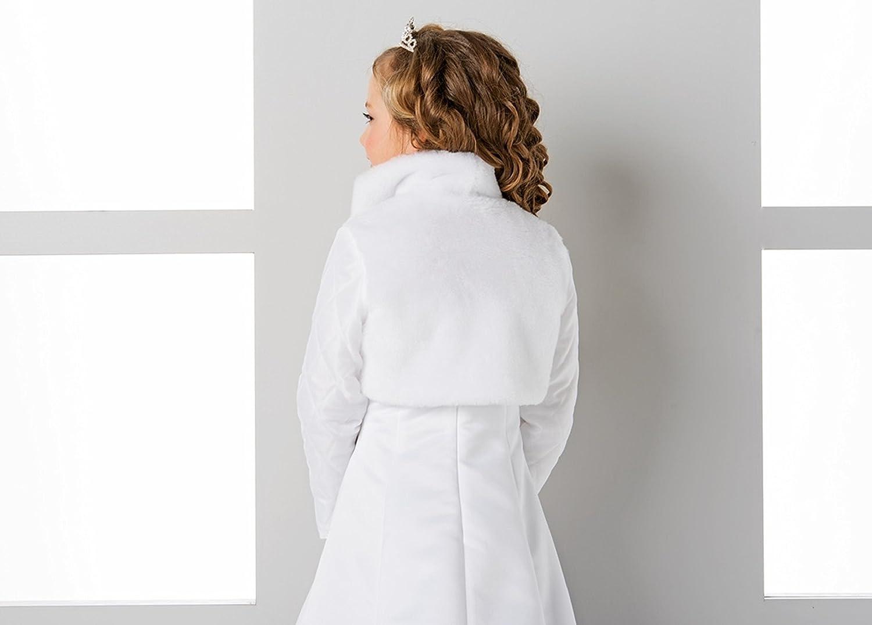 Lacey Bell Girls Communion Flower Girl Faux Fur Jacket Bolero CJ120