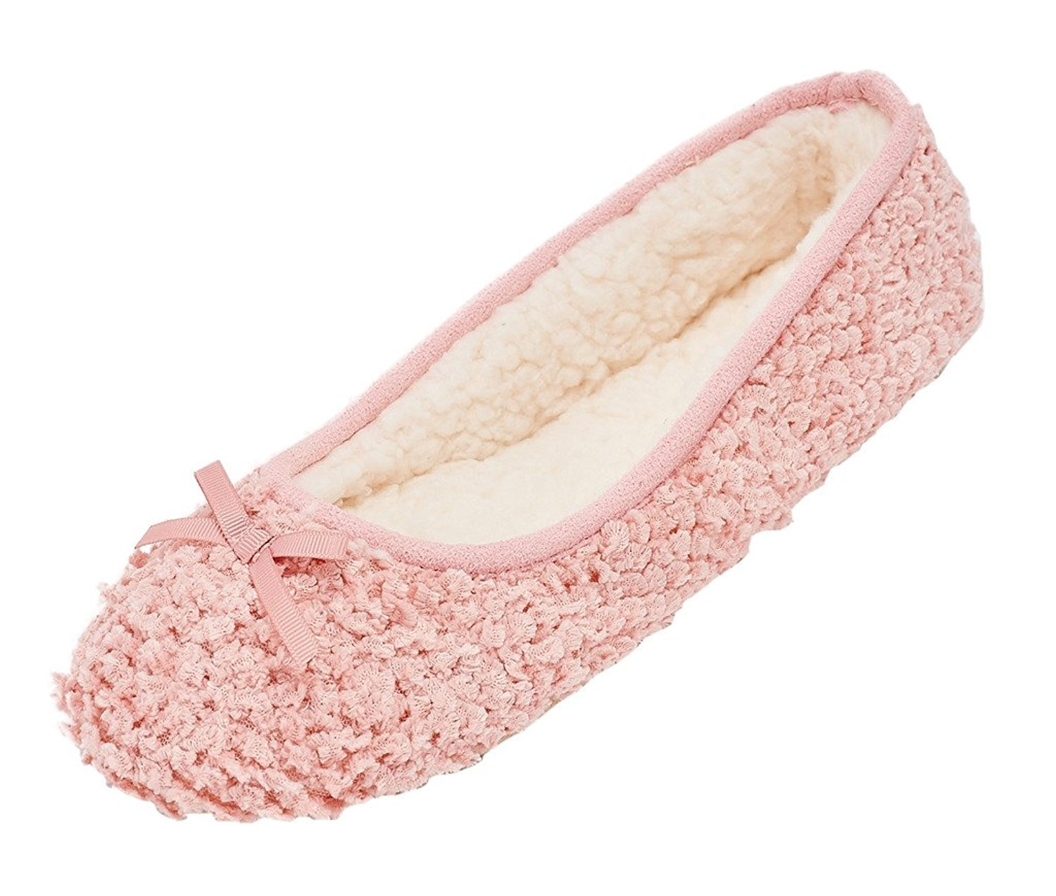 MIXIN Women's Elegant Comfy Litchi Cashmere Soft Sole Indoor Ballerina Flats House Slippers Pink Size 7