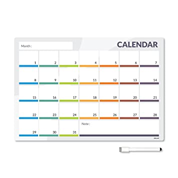 CKB Ltd® CALENDAR 31 Day Magnetic Fridge Board With Marker White Board U0026  Pen