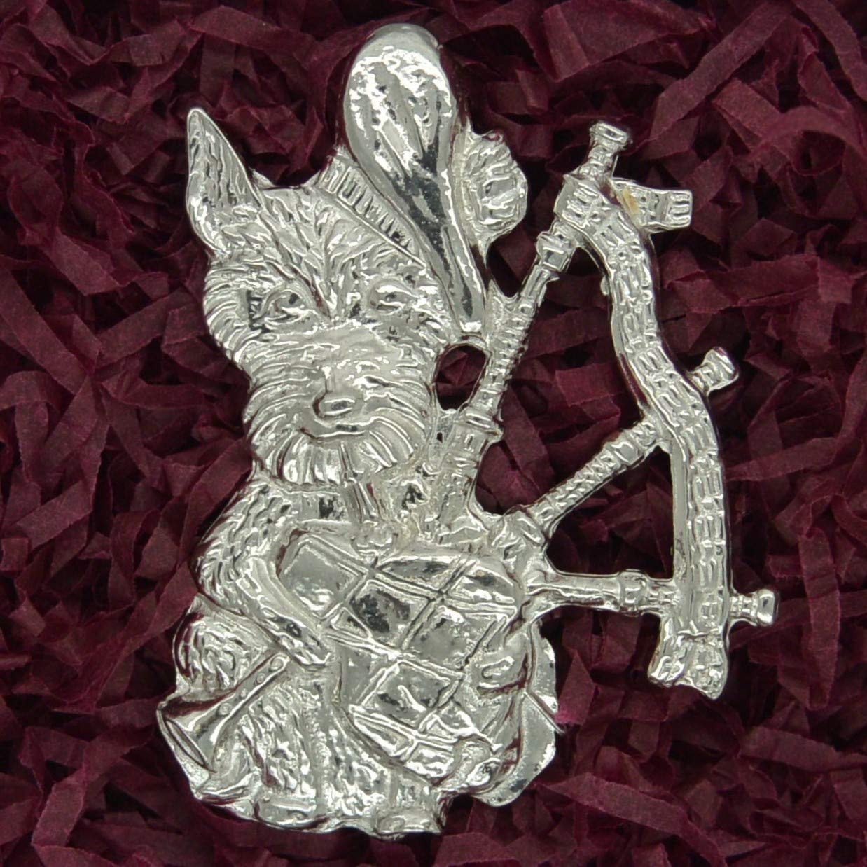 By William Sturt Scotty Dog with Bagpipes Brooch Handcast Scottish Brooch in Fine Pewter