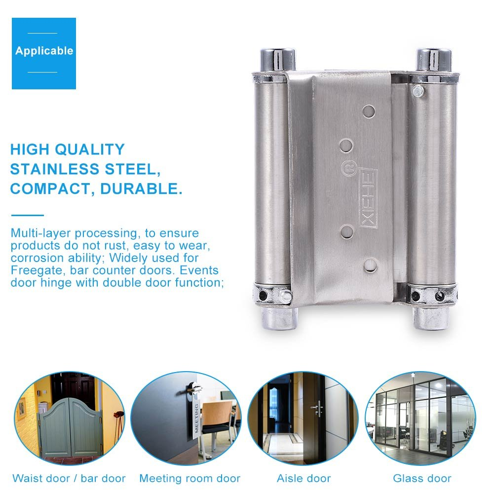 Attrayant 3 Inch Stainless Steel Double Action Spring Door Hinge For Saloon Cafe Door  Shop Swing  Silver, 2Pcs     Amazon.com