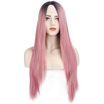 DiscoBall Ombre raíces negras Pink larga recta peluca llena ...
