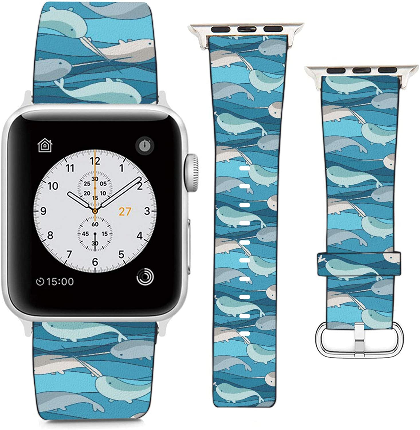 Compatible with Apple Watch Wristband 38mm 40mm, (Narwhals on Wave Background?) PU Leather Band Replacement Strap for iWatch Series 5 4 3 2 1