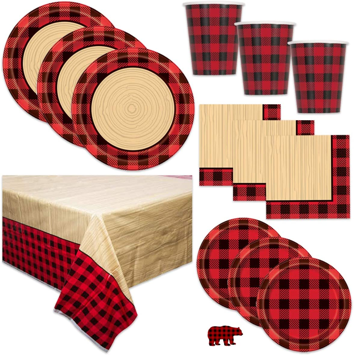 Unique Red Black Buffalo Plaid Birthday Party or Baby Shower Lumberjack Theme Supplies Set - Tablecover, Plates, Cups, Napkins and Sticker Decoration