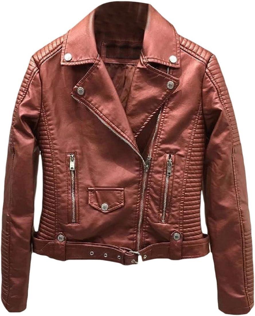 CuteRose Womens Simple Turn-Down Collar Zip Faux Leather Outwear Coat