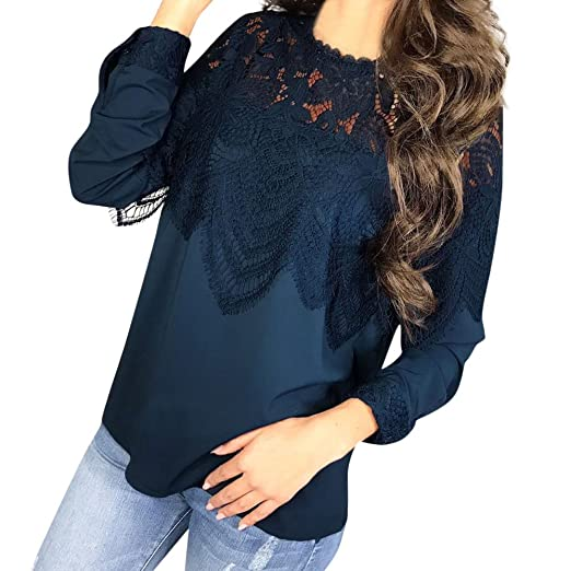 e927fc919d4 GONKOMA Women Casual Lace Patchwork Long Sleeve Tops Blouse T-Shirt ...