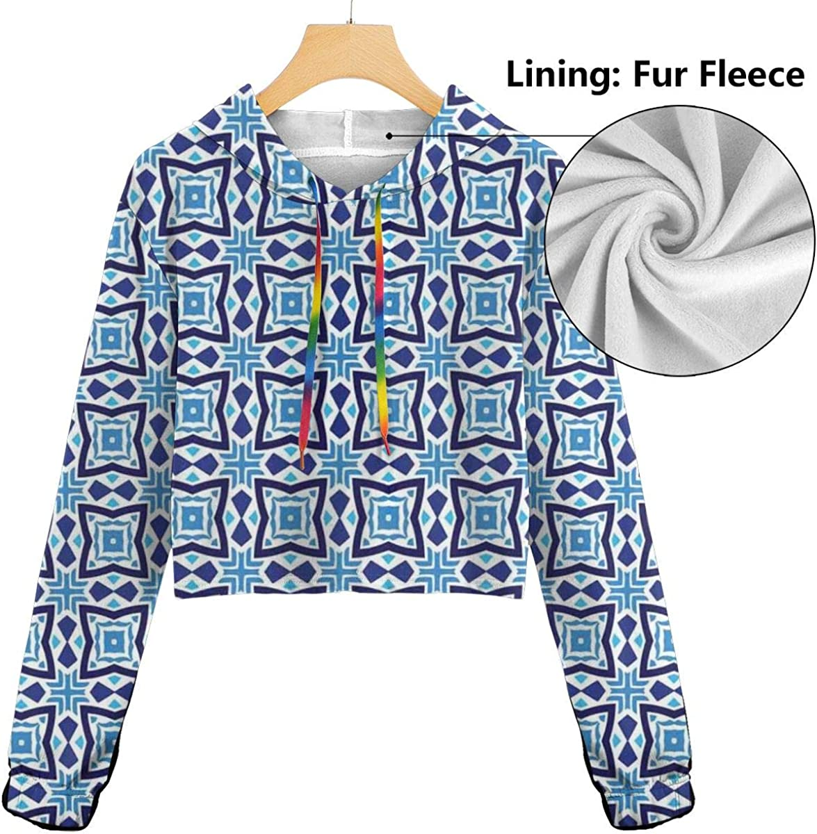 GULTMEE Womens Cropped Hoodie,Abstract Composition of Tiles with Angled Lines Contemporary Design,S-XL