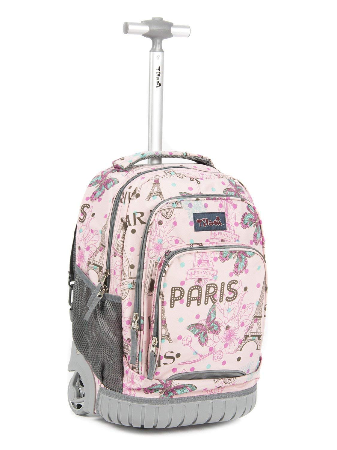 Tilami Rolling Backpack Armor Luggage School Travel Book Laptop 18 Inch Multifunction Wheeled Backpack for Kids and Students (Pink Butterfly 1)