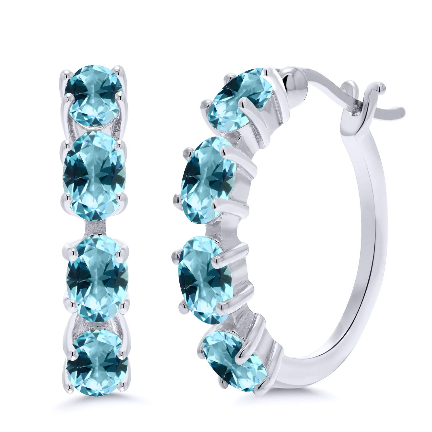 f24d296e84c0f1 Amazon.com  925 Sterling Silver Hoop Earrings Set with Oval Ice Blue Topaz  from Swarovski  Jewelry