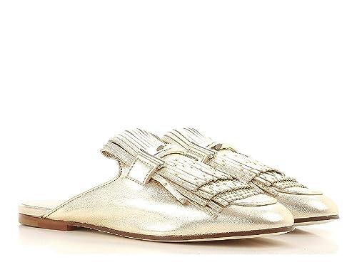 Piel Complementos Zapatillas En Con Y Cerrado Amazon Zapatos Plano Dorada Tod's es Sandalias Metalizada De x6TAq6r0Z