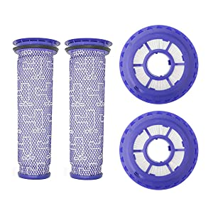 Lemige 2 Pack HEPA Post Filters & 2 Pack Pre Filters Replacement for Dyson DC65 DC66 DC41 Animal, Multi Floor and Ball Vacuums, Compare to Part 920769-01&920640-01