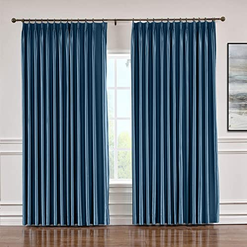 Macochico Extra Wide Soft Faux Dupioni Silk Curtain with Blackout Lining Pinch Pleat Drapery Panels for Bedroom Meeting Room Living Room Office, Navy 120 Wx 96 L Inch 1 Panel