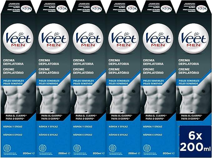 Veet for Men Crema depilatoria corporal para hombre - piel sensible - 6 x 200 ml - hasta 20 semanas de suavidad: Amazon.es: Salud y cuidado personal