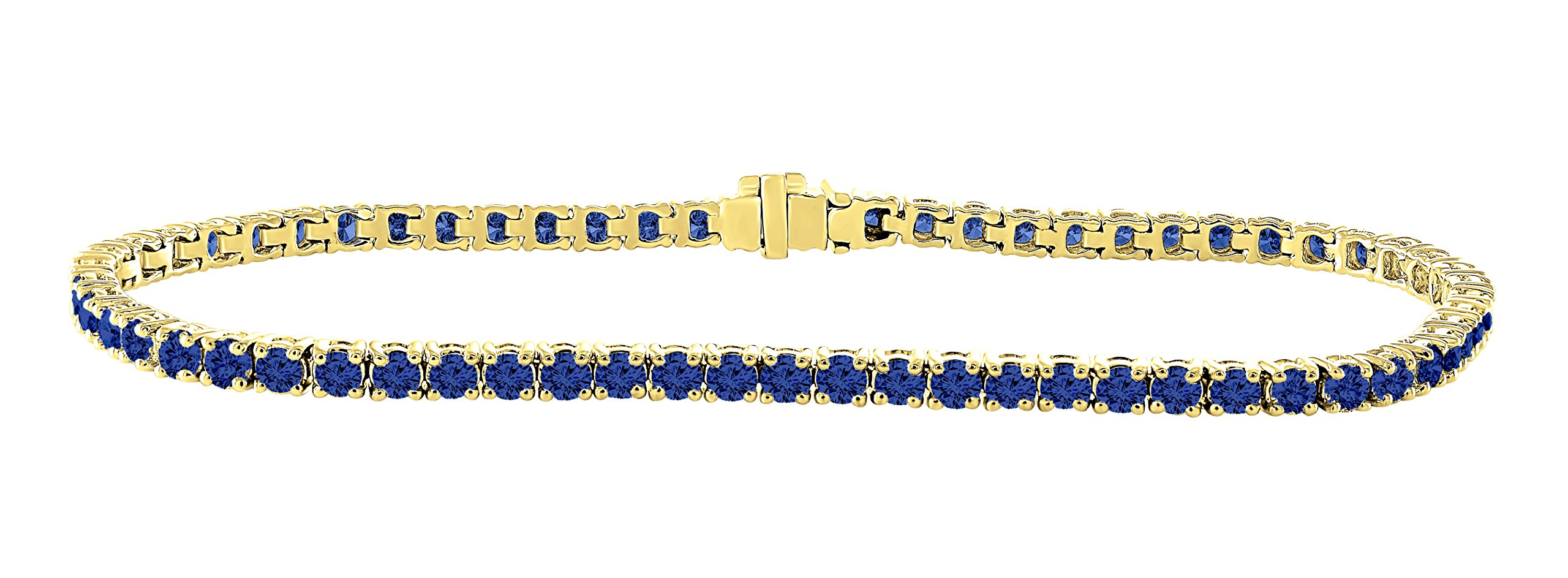 14K Yellow Gold 3.00 Carat (ctw) Natural Real Round Cut Blue Sapphire Tennis Bracelet For Women 7 Inches