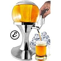 EGLEMTEK Distributeur de bière et Boissons, en Forme de Boule, avec Compartiment à Glace, capacité 3,5 litres, Distributeur de bière et Autres Boissons, 28 x 28 x 24 cm