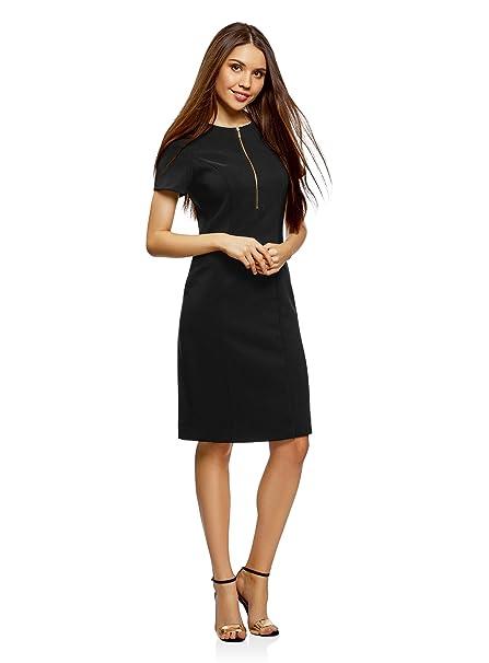 oodji Collection Mujer Vestido Ajustado con Cremallera Delantera, Negro, ES 36 / XS