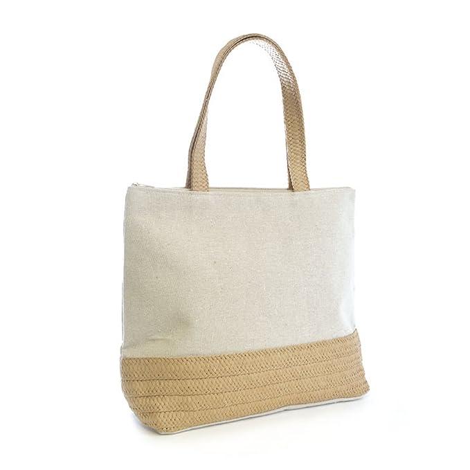 Bolsa de playa/ de la compra de lona con rafia de adorno