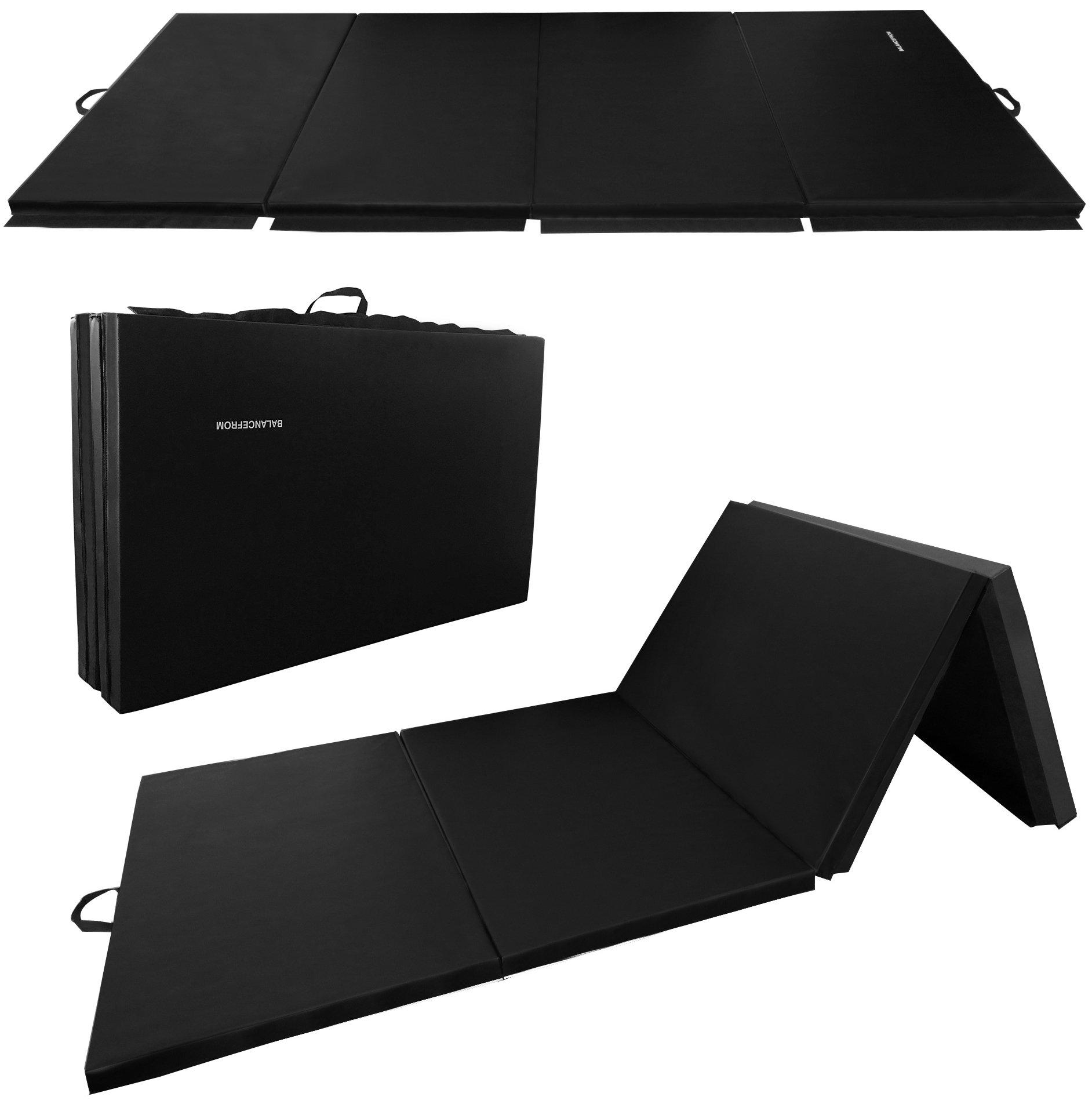 BalanceFrom GoGym All-Purpose 4'x10'x2 Extra Thick High Density Anti-Tear Gymnastics Gym Folding Exercise Aerobics Mats (Black) by BalanceFrom